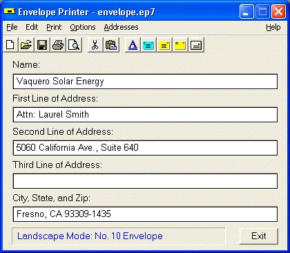 Sorcerer Envelope Printer Screenshot