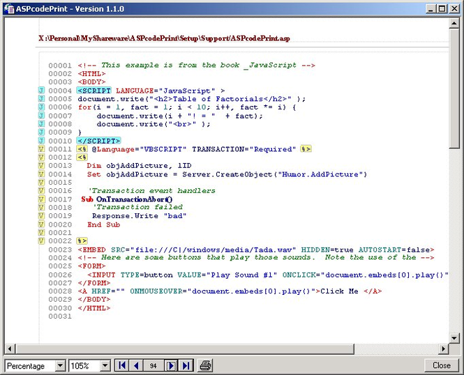 ASPcodePrint Screenshot