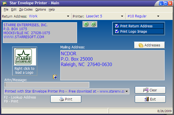 Star Envelope Printer Pro Screenshot
