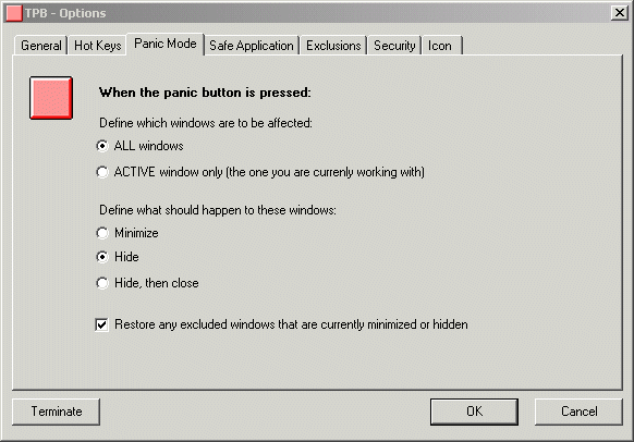 The Panic Button - Privacy Software Screenshot