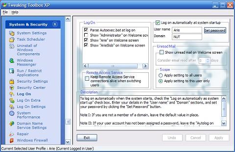 Tweaking Toolbox XP Screenshot