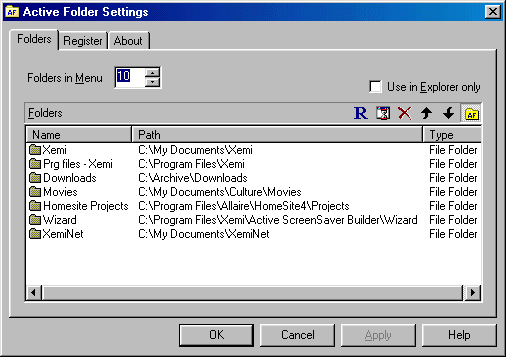 Active Folder Screenshot