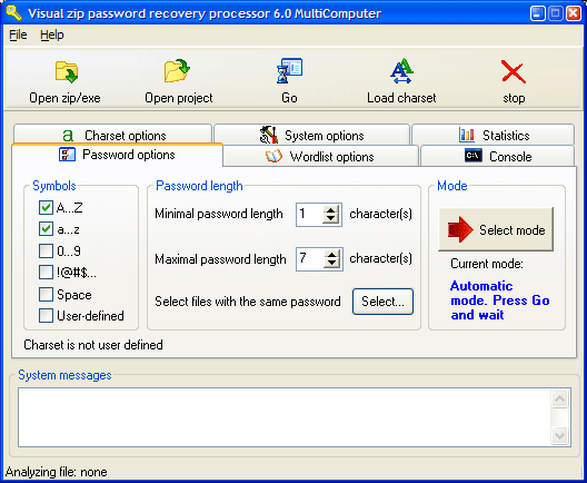 Visual Zip Password Recovery Processor Screenshot 1