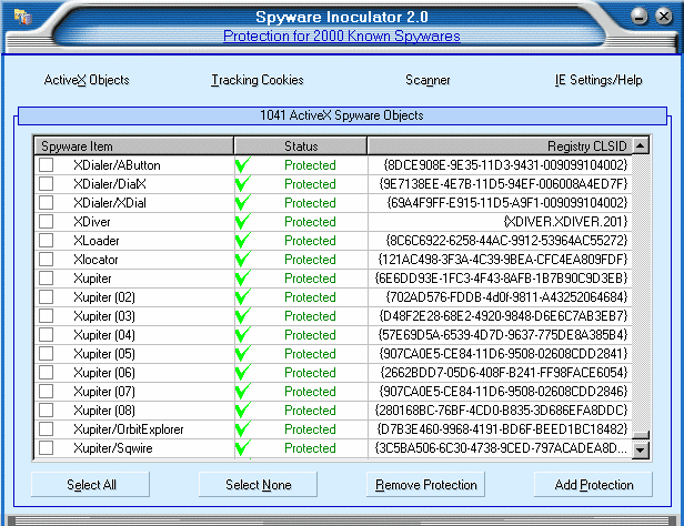 Spyware Inoculator Screenshot