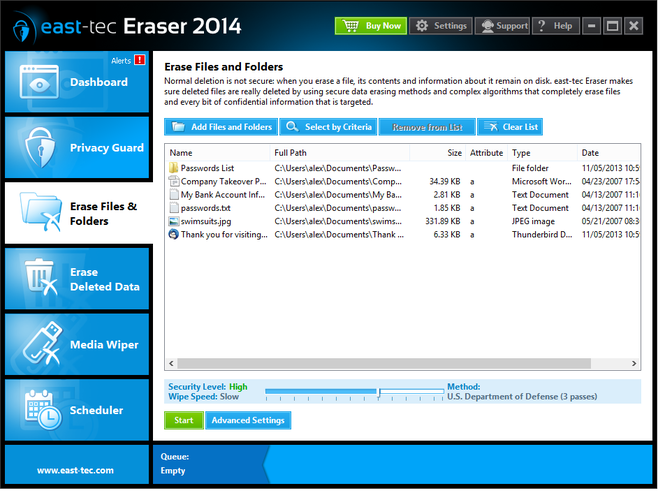 east-tec Eraser 2014 Screenshot