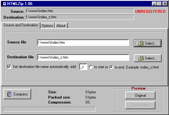 HTMLZip Screenshot