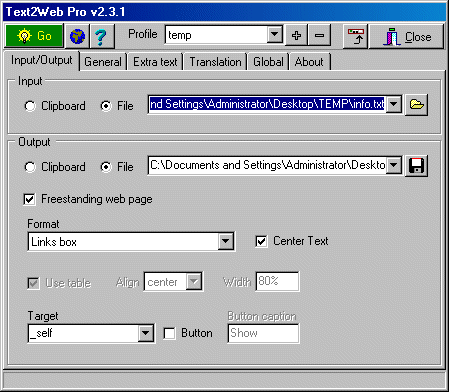 Text2Web Pro Screenshot