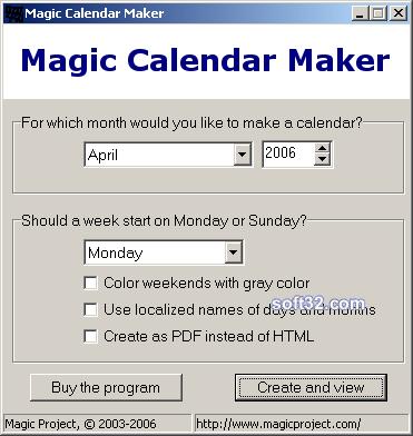 Magic Calendar Maker Screenshot 3