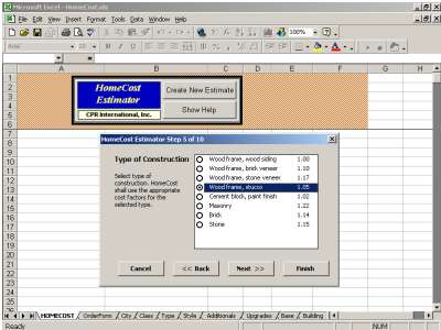 HomeCost Estimator for Excel Screenshot