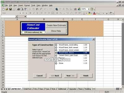HomeCost Estimator for Excel Screenshot 3