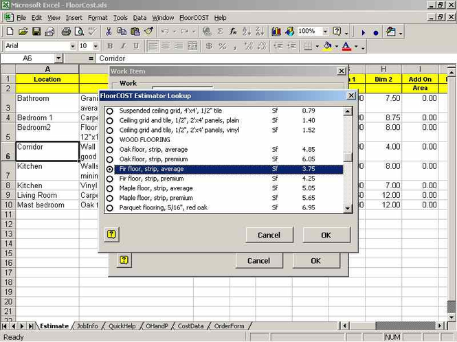 FloorCOST Estimator for Excel Screenshot