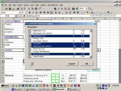 RemodelCost Estimator for Excel Screenshot 2