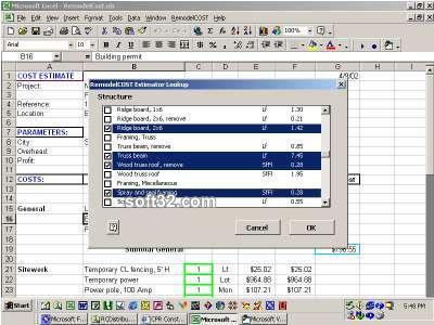 RepairCost Estimator for Excel Screenshot 2