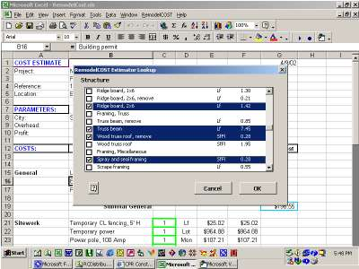 RepairCost Estimator for Excel Screenshot