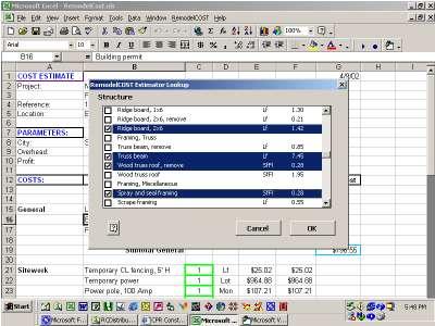 RepairCost Estimator for Excel Screenshot 1