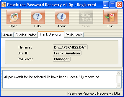 Peachtree Password Recovery Screenshot