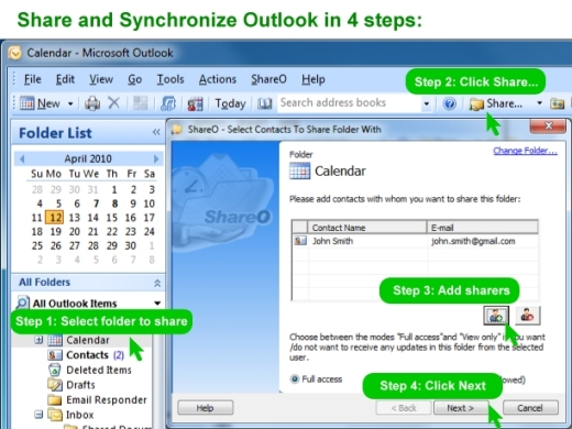 ShareCalendar for Outlook Screenshot