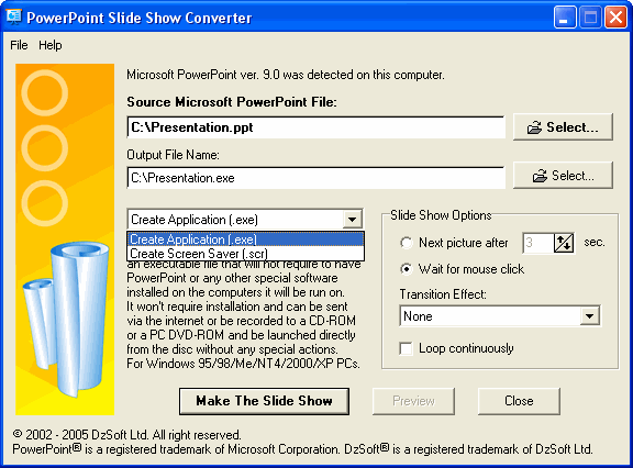 PowerPoint Slide Show Converter Screenshot