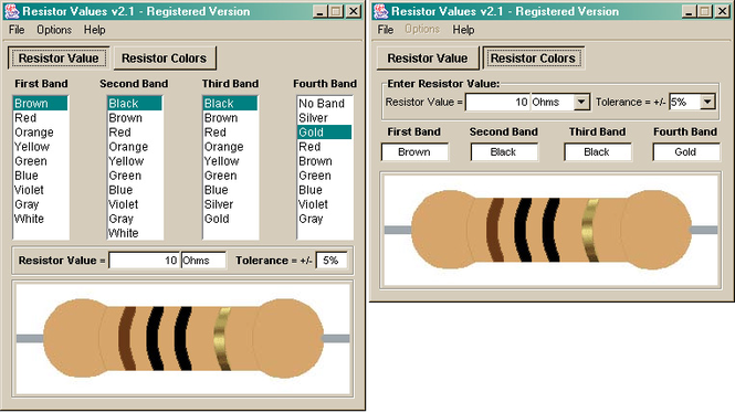 Resistor Values Screenshot