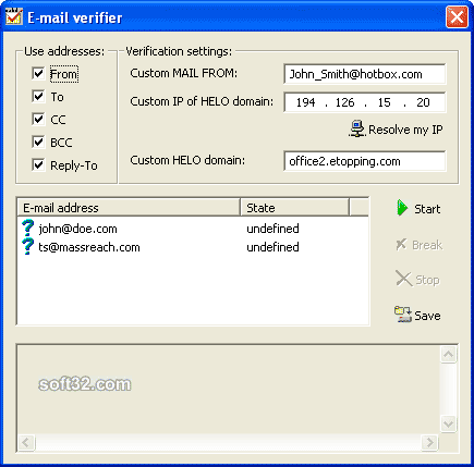 Outlook Email Verifier Screenshot