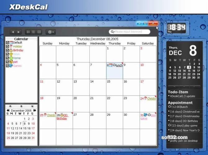 XDeskCal Screenshot