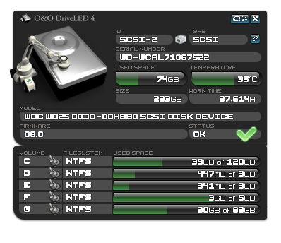 O&O DriveLED Screenshot 2
