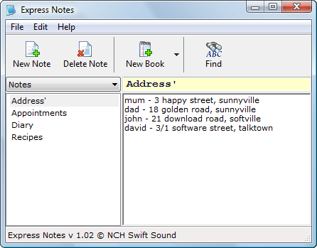 Express Notes Information Organiser Screenshot