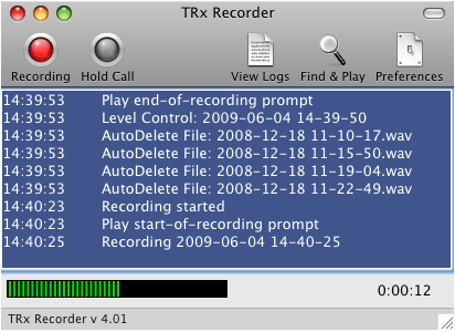 TRx Personal Phone Call Recorder for Mac Screenshot