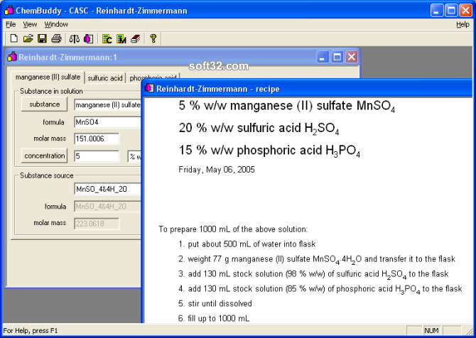 CASC concentration calculator Screenshot 2