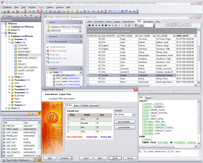 EMS SQL Manager for InterBase/Firebird Freeware Screenshot 3