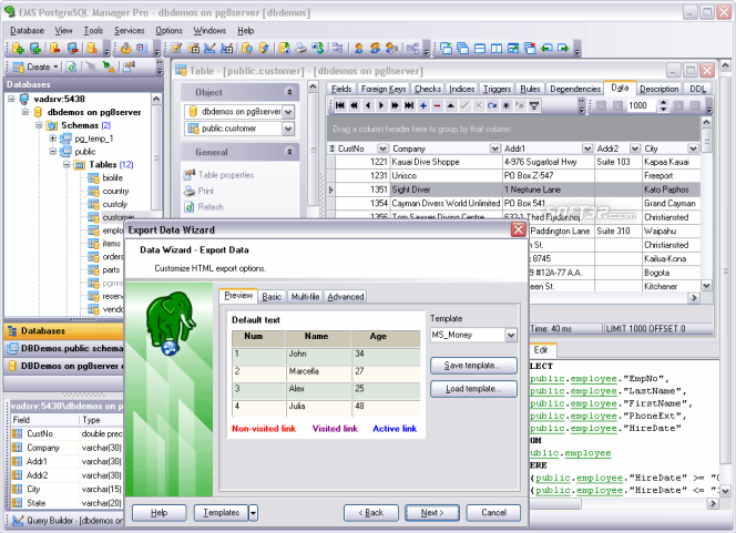 EMS SQL Manager for PostgreSQL Freeware Screenshot 1