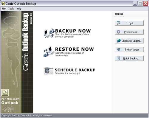 Genie Outlook Backup Screenshot