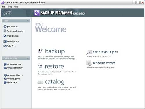 Genie Backup Manager Home Edition Screenshot