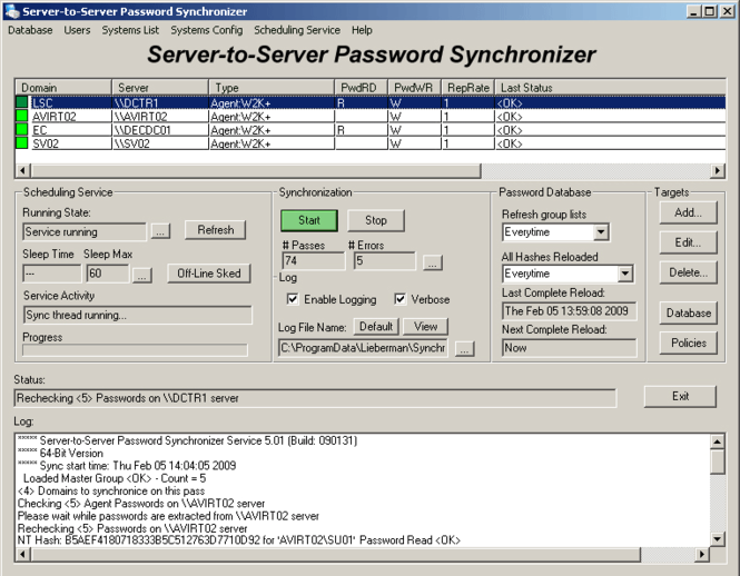 Server-To-Server Password Synchronizer Screenshot