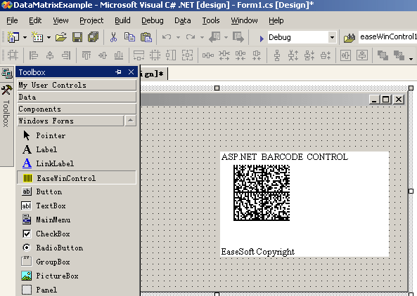 EaseSoft DataMatrix  ASP.NET Web Control Screenshot