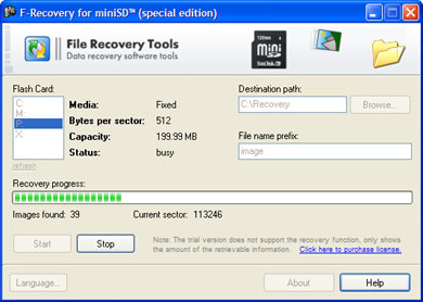 F-Recovery for miniSD Screenshot
