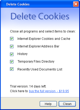 Delete Cookies Screenshot