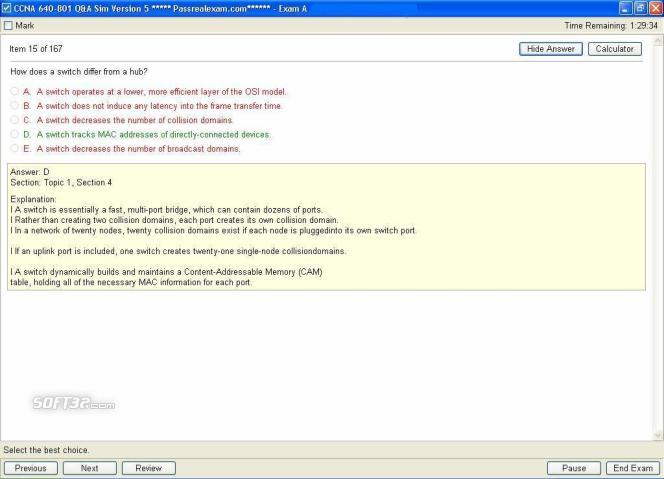 CCNA Exam Q A Simulator Screenshot 1