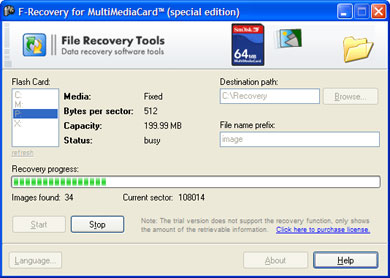 F-Recovery for MultiMediaCard Screenshot