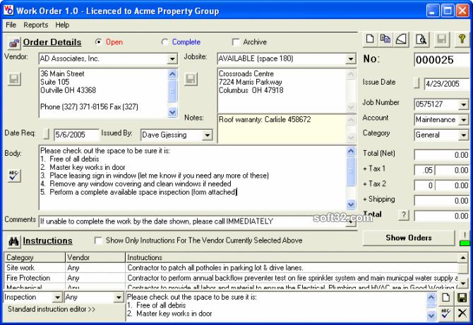 Work Order Screenshot 3