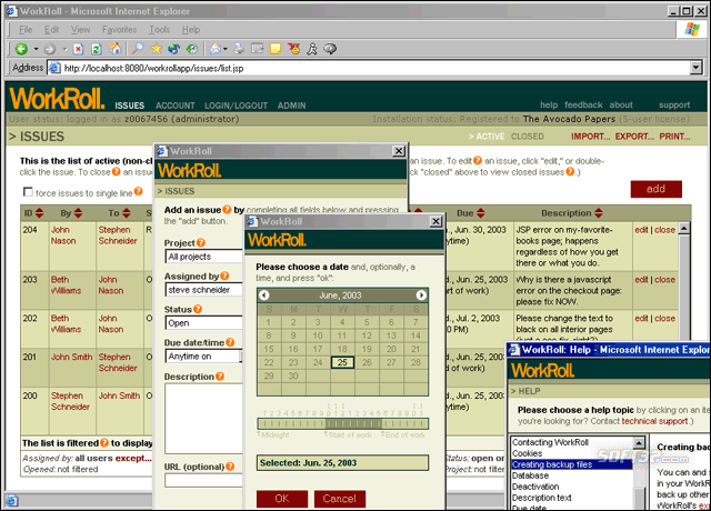 WorkRoll Bug Tracker and Feedback Mgr. Screenshot 2