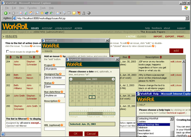 WorkRoll Bug Tracker and Feedback Mgr. Screenshot 1