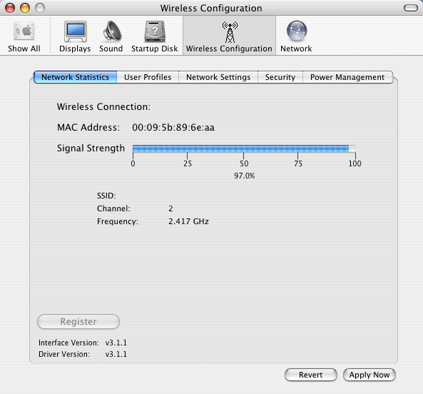 Wireless Driver for Mac Screenshot