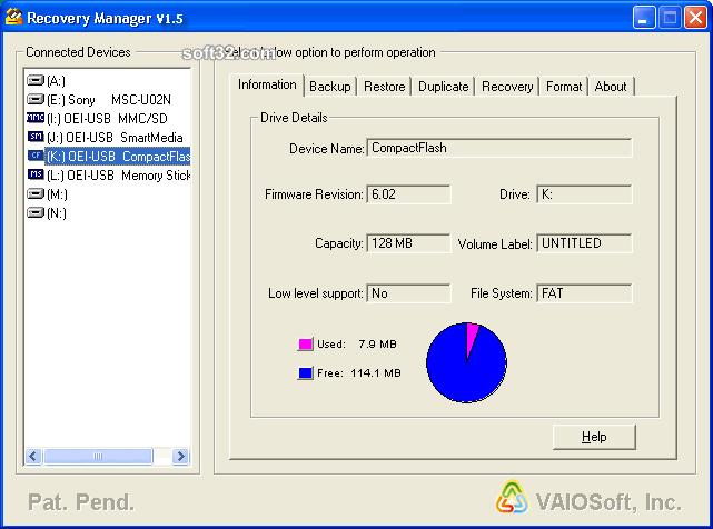 VAIOSoft Recovery Manager V1 Screenshot 2