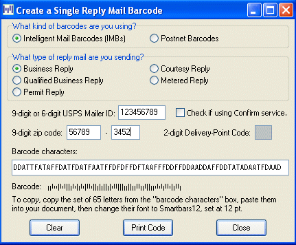 Smart Barcoder Postal Barcode Software Screenshot 1