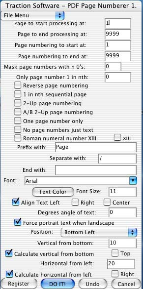 Mac PDF Page Numberer Screenshot