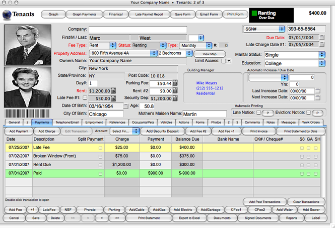 Landlord Report-Property Management Software Screenshot
