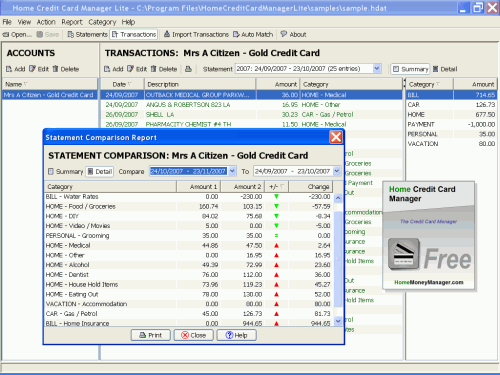 Home Credit Card Manager (Mac) Screenshot