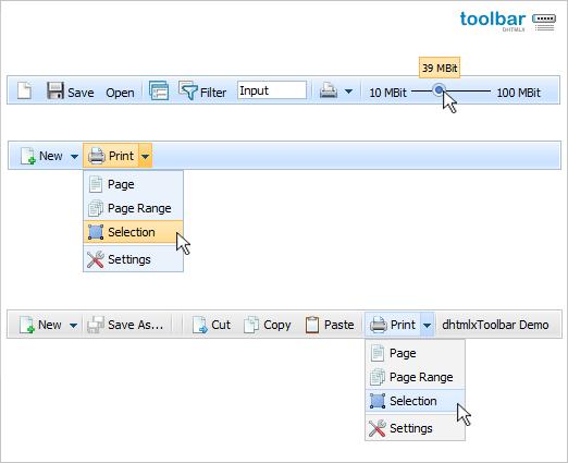 dhtmlxToolbar :: JavaScript Toolbar Screenshot