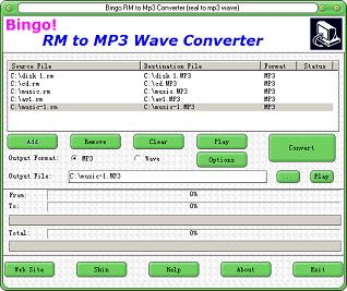 Bingo! RM to MP3 Wave Converter Screenshot 1